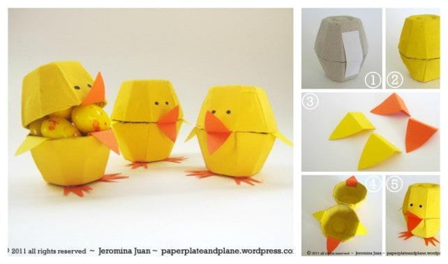 Easter Egg Carton Chicks DIY